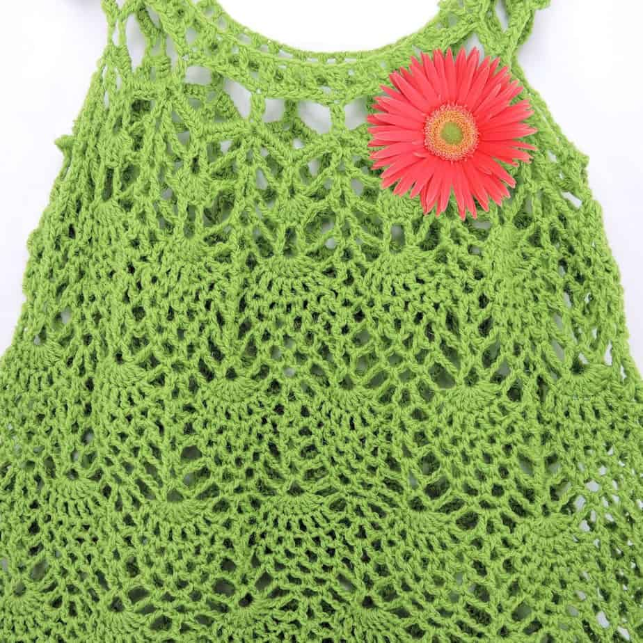 Pineapple Cascades Baby Dress CrochetKim Free Crochet Pattern
