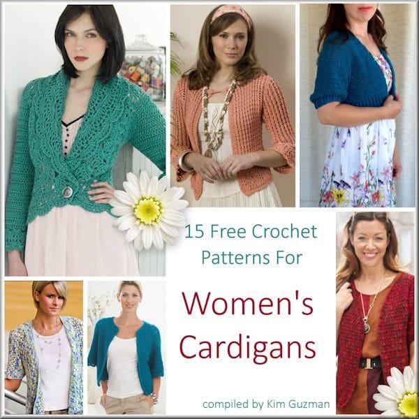 Link Blast: 15 Free Crochet Patterns for Womens Cardigans | CrochetKim™