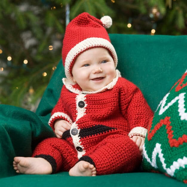 Infant Santa Suit Outfit Romper Free Crochet Pattern