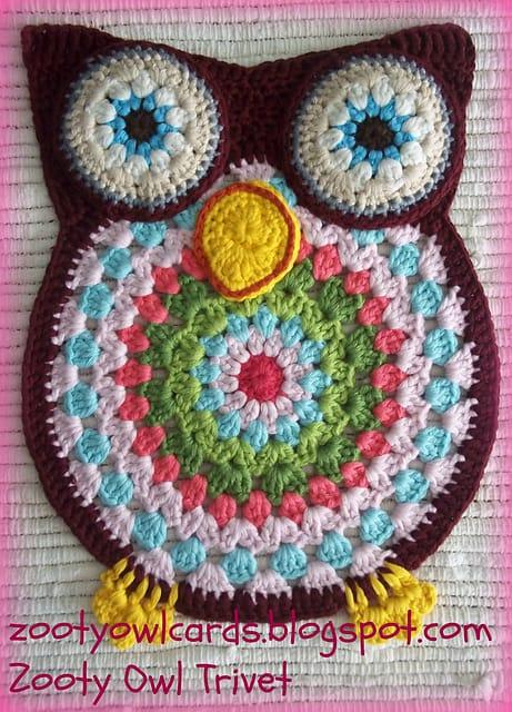 Owl Trivet Free Crochet Pattern Crochetkim