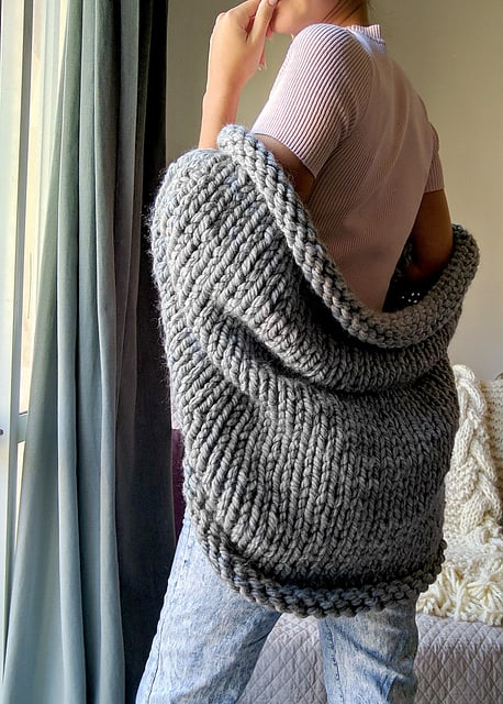Free Knit Pattern Super Chunky Slouchy Shrug Crochetkim