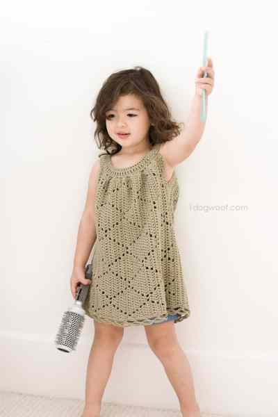 Summer Diamonds Toddler Dress Free Crochet Pattern