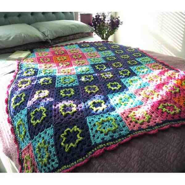 Free Crochet Pattern: Psychedelic Flower Throw