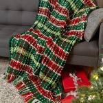 Free Crochet Pattern: Plaid Christmas Blanket