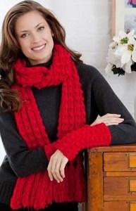 Lacy Bobble Scarf and Mitts Set   CrochetKim Free Crochet Pattern