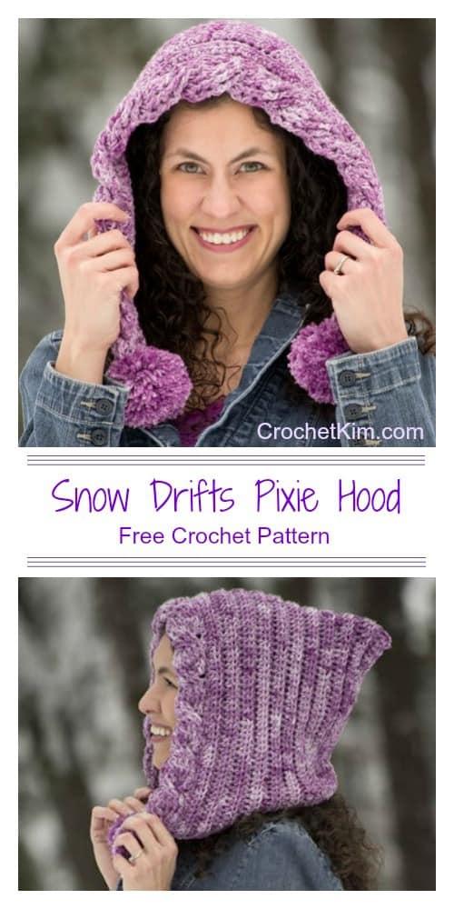 Snow Drifts Pixie Hood CrochetKim Free Crochet Pattern