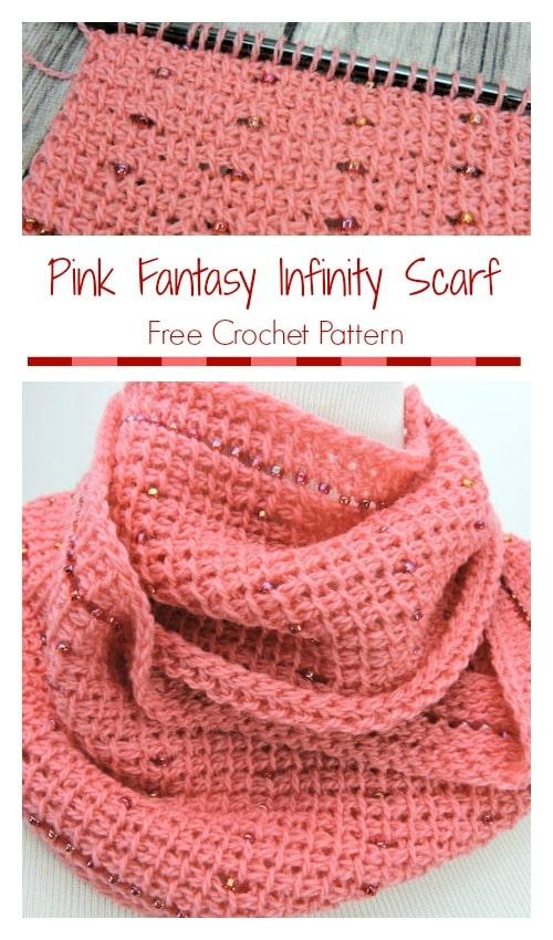 Pink Fantasy Infinity Scarf | CrochetKim Free Crochet Pattern