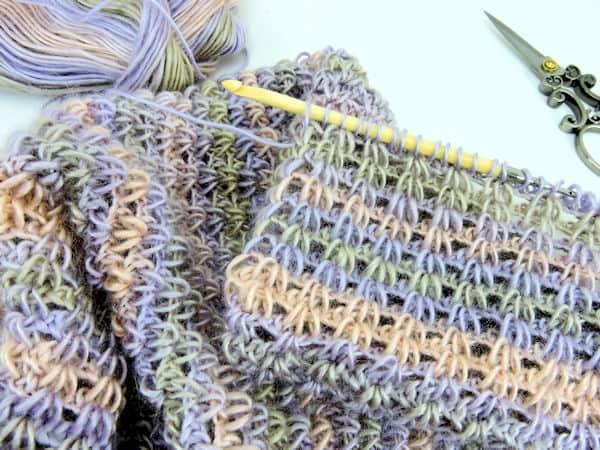CrochetKim Free Crochet Pattern | Eternal Spring Infinity Scarf Free Tunisian Crochet Pattern