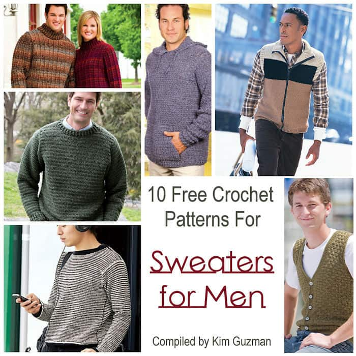Link Blast 10 Free Crochet Patterns For Sweaters For Men Crochetkim