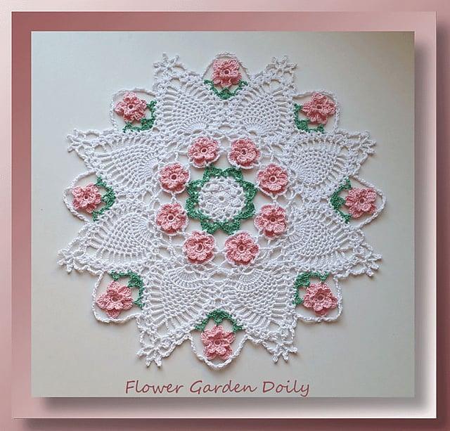 Free Crochet Pattern: Valentine Flower Garden Doily