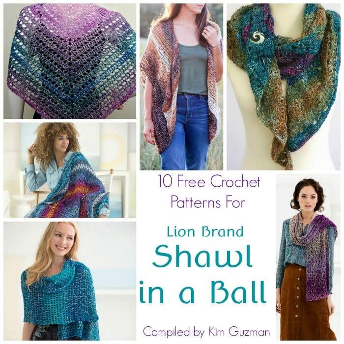 Link Blast 10 Free Crochet Patterns For Lion Brand Shawl In A Ball