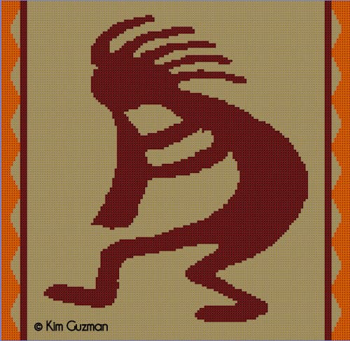 CrochetKim Free Crochet Pattern | Colorwork Chart Kokopelli Native American Blanket
