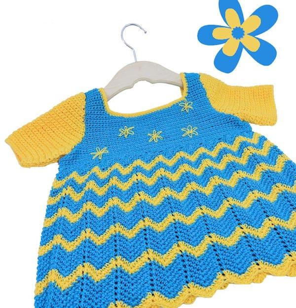 Lazy Daisy Baby Dress | CrochetKim Free Crochet Pattern