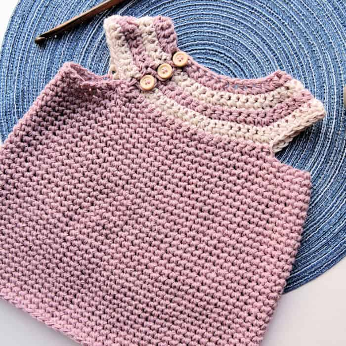 Desert Willow Baby Infant Dress | CrochetKim Free Crochet Pattern