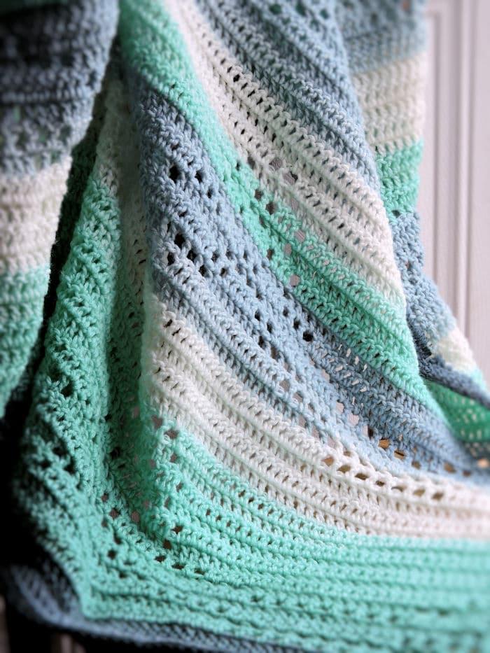 Filet Ribbons Baby Blanket CrochetKim Free Crochet Pattern
