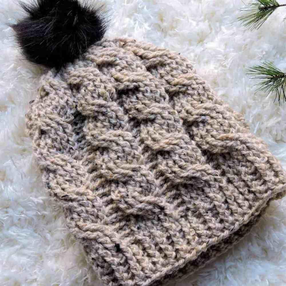 Oatmeal Cable Slouch Hat CrochetKim Free Crochet Pattern