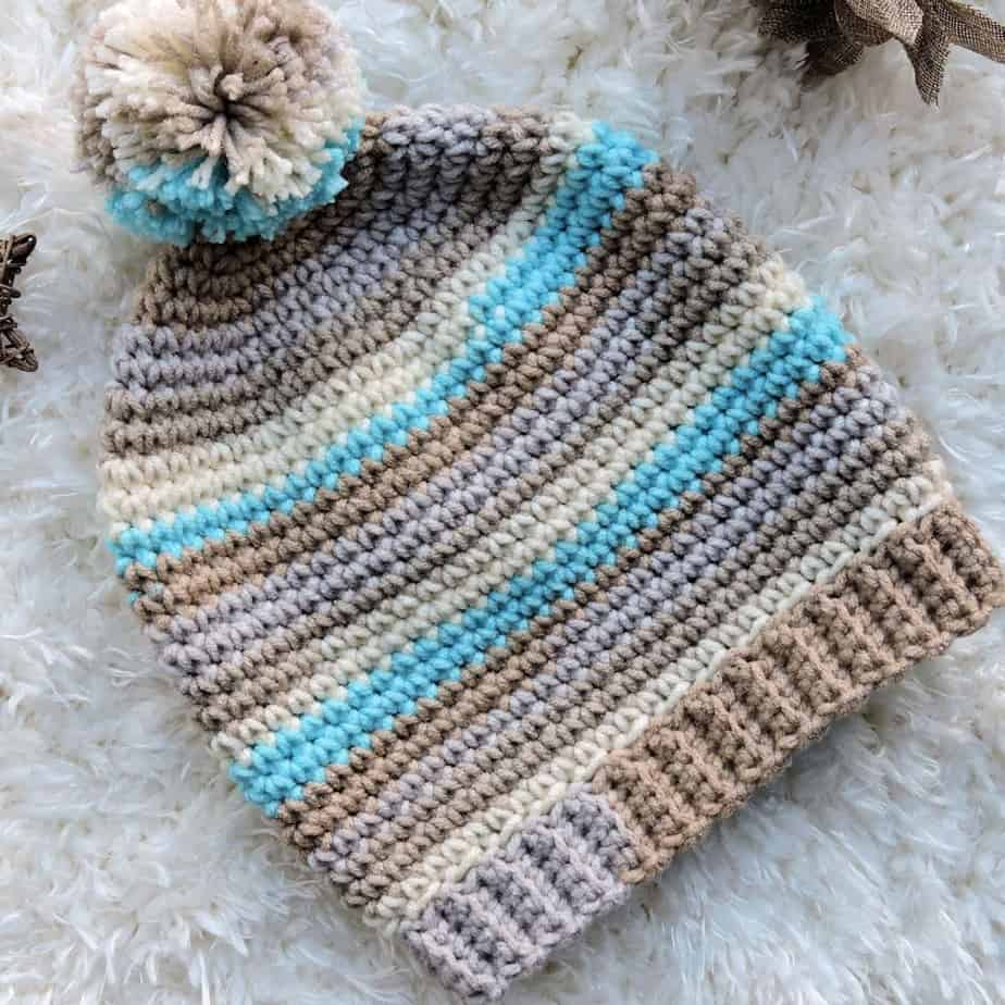 Basic Stripes Slouch Hat Free Crochet Pattern