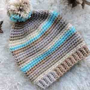 Basic Stripes Slouch Hat CrochetKim Free Crochet Pattern