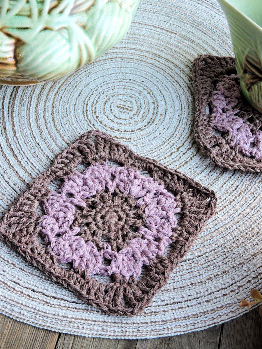 Rustic Square Coaster CrochetKim Free Crochet Pattern
