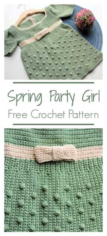 Spring Party Girl Dress CrochetKim Free Crochet Pattern