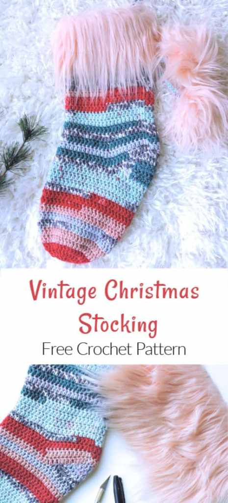 Vintage Christmas Stocking with Faux Fur Pompoms and Cuff CrochetKim Free Crochet Pattern