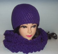 Hat and Scarf Set In Purple Crochet, Womans Accessories ...