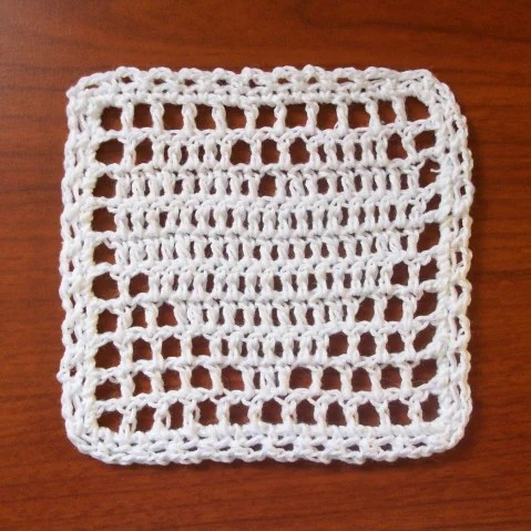 Filet Heart Coaster Square Free Crochet Pattern