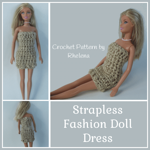Strapless Fashion Doll Dress ~ FREE Crochet Pattern