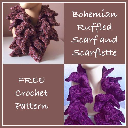 Bohemian Ruffled Scarf and Scarflette ~ FREE Crochet Pattern