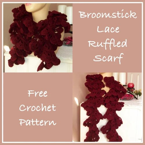 Broomstick Lace Ruffled Scarf ~ FREE Crochet Pattern