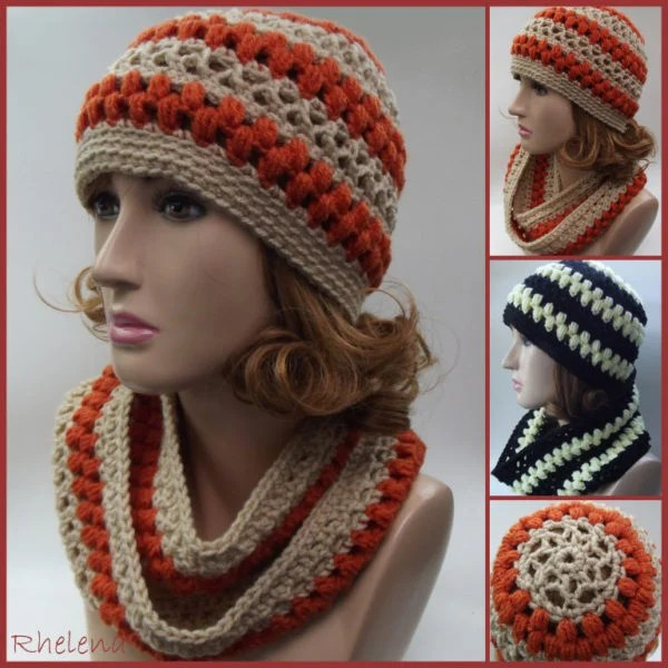 Lace and Puff Stitch Hat and Cowl