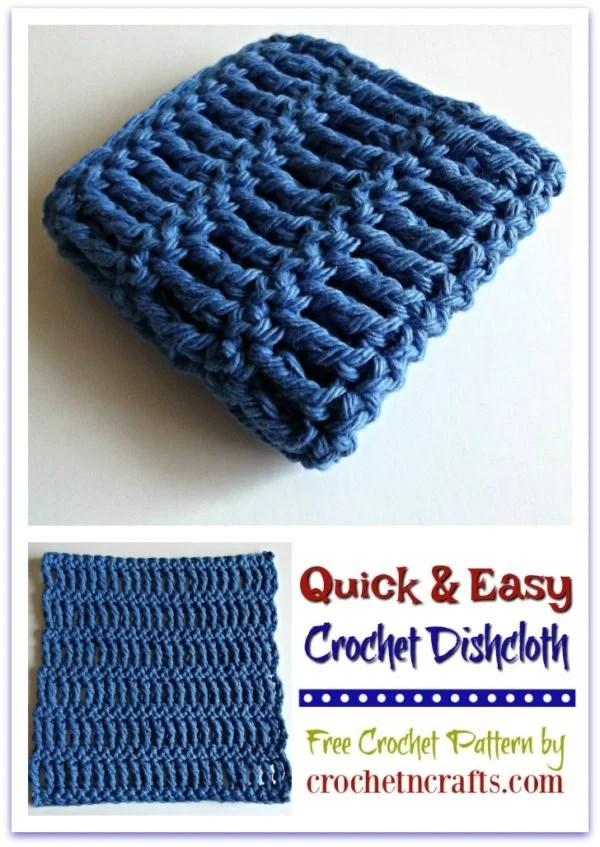Free Crochet Pattern for a Quick and Easy Crochet Dishcloth. The dishcloth pattern is about 6.75
