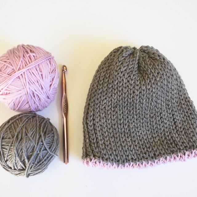 Adult Crochet Beanie Pattern A Free Knit Look Double Brim Crochet Beanie Pattern