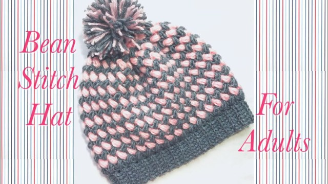 Adult Crochet Beanie Pattern Crochet Bean Stitch Adult Beanie Winter Hat In Two Colors Easy To