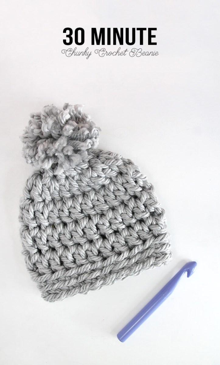 Beanie Pattern Crochet 30 Minute Easy Chunky Crochet Beanie Persia Lou