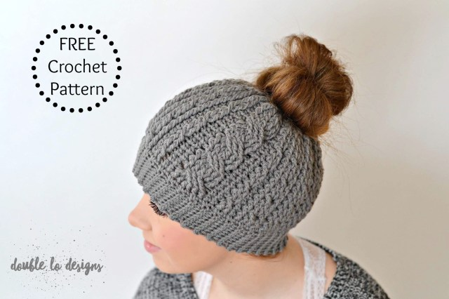 Beanie Pattern Crochet Free Crochet Pattern Crochet Cabled Messy Bun Hat Adult Sizes
