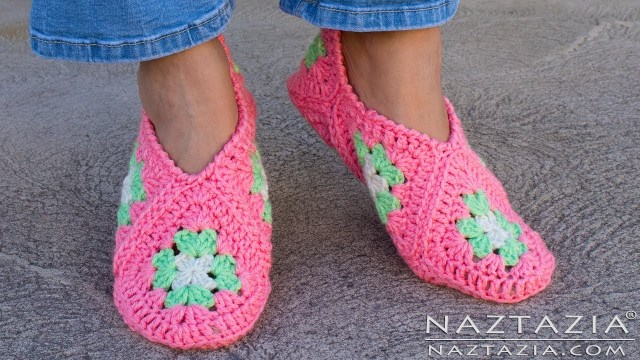 Crochet Boots Pattern For Adults How To Crochet Granny Square Slippers Diy Tutorial Soft Shoes