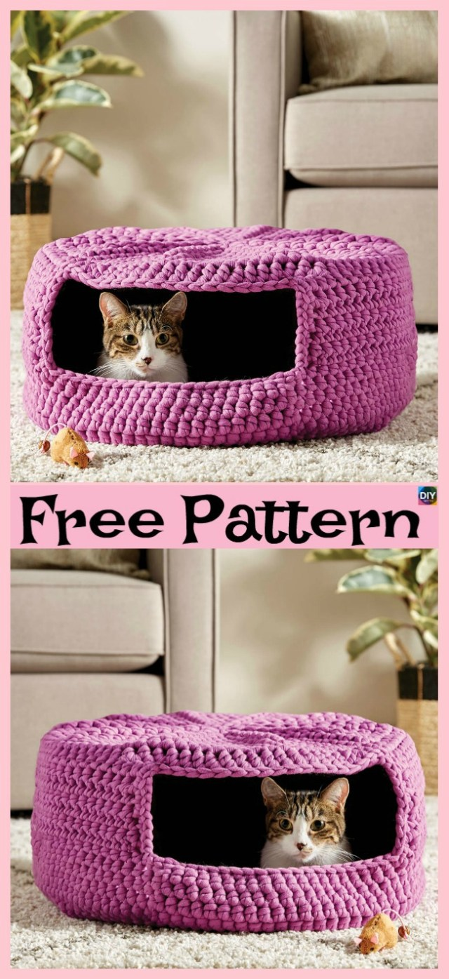 Crochet Cat Bed Pattern Free 10 Awesome Crochet Cat Bed Free Patterns Diy 4 Ever