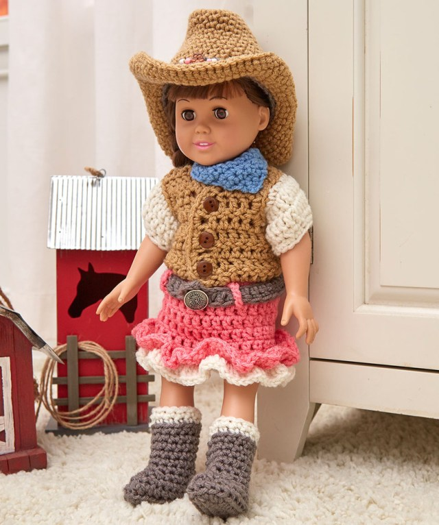 Crochet Doll Clothes Patterns Dollie Cowgirl Partner Red Heart