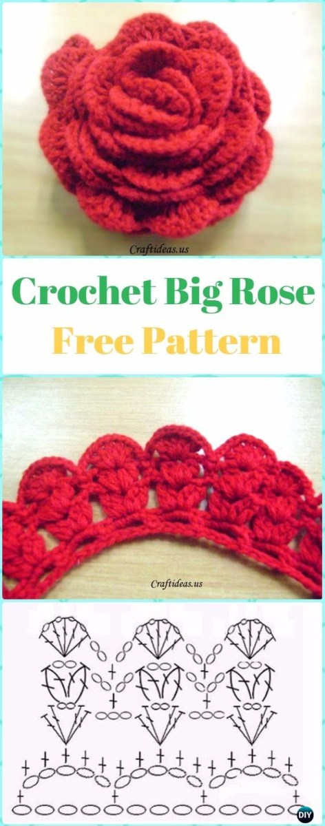 Crochet Leaf Pattern Video Crochet 3d Rose Flowers Free Patterns Tutorials