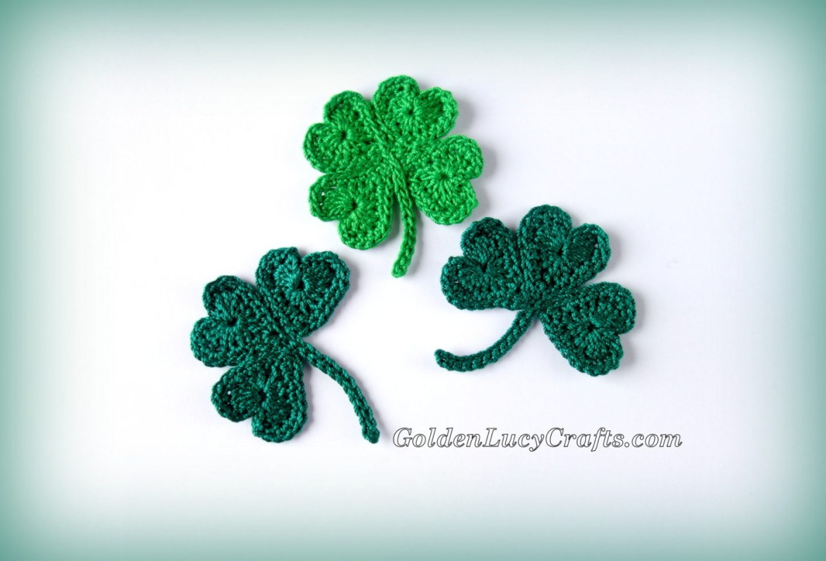 Crochet Leaf Pattern Video Crochet Shamrock For St Patricks Day And Lucky Clover Appliques