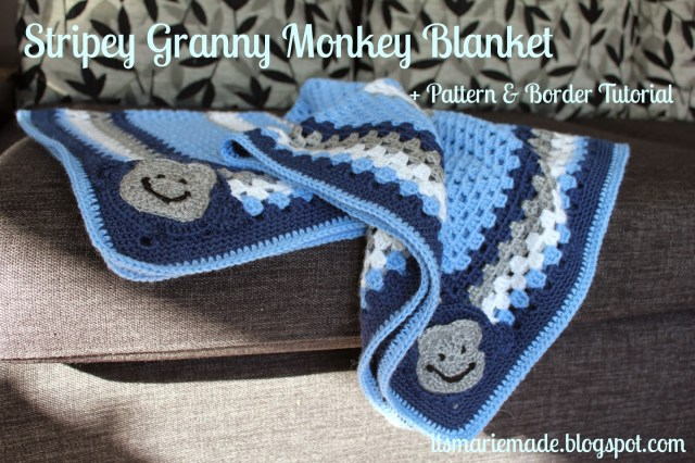 Crochet Monkey Blanket Pattern Its Marie Made Stripey Crochet Granny Monkey Blanket Pattern