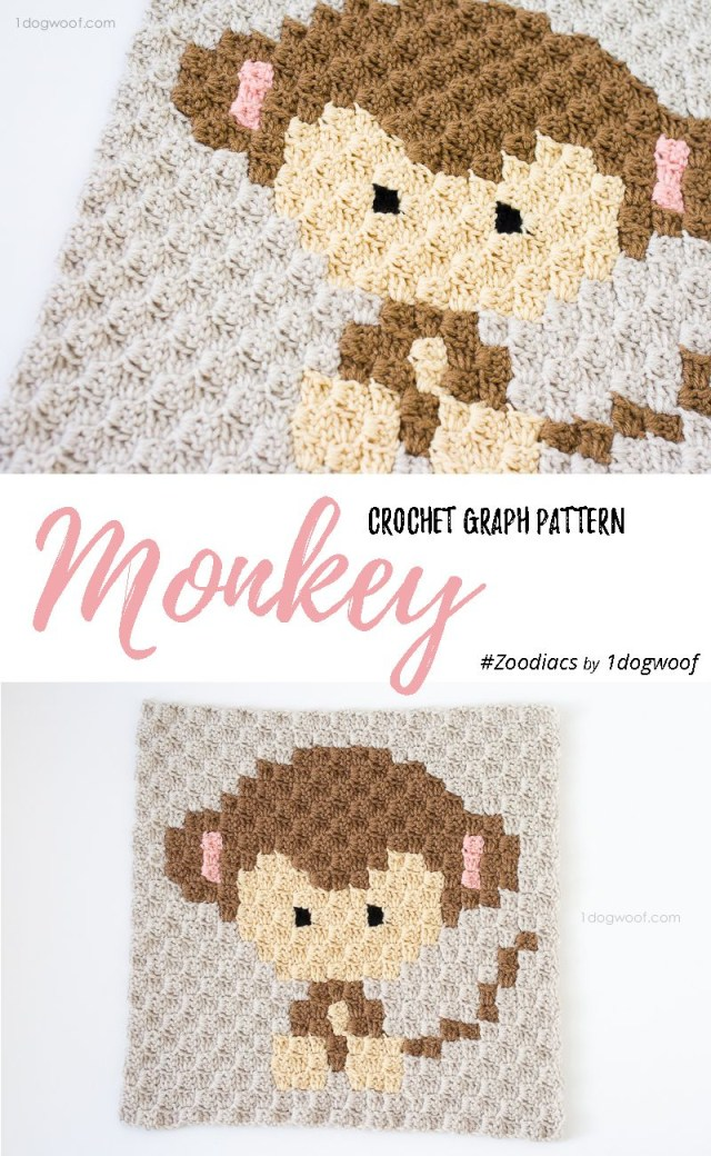 Crochet Monkey Blanket Pattern Zoodiacs Monkey C2c Crochet Graph Granny Squares Blocks