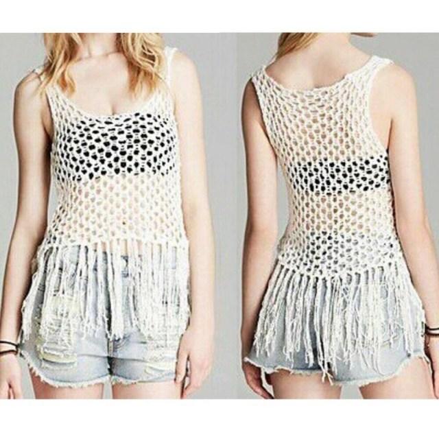 Crochet Vest Top Pattern Cream White Crochet Knit Tassel Fringe Holey Net Vest Top 10 Ebay