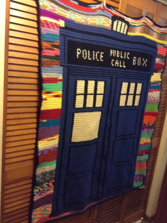 Doctor Who Crochet Blanket Pattern Scrappy Tardis Afghan Pattern With Chart Happyhookers Blog