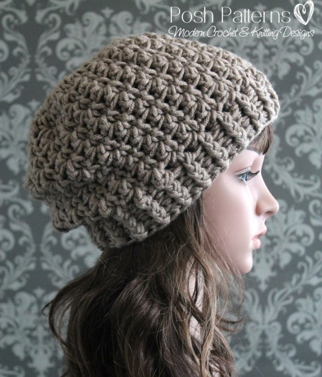 Easy Crochet Slouchy Hat Pattern Shell Stitch Slouchy Hat Crochet Pattern