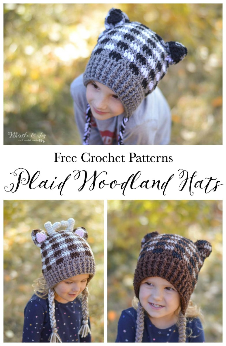 Free Crochet Hat Patterns For Adults Plaid Crochet Woodland Animal Hats Free Crochet Pattern Whistle