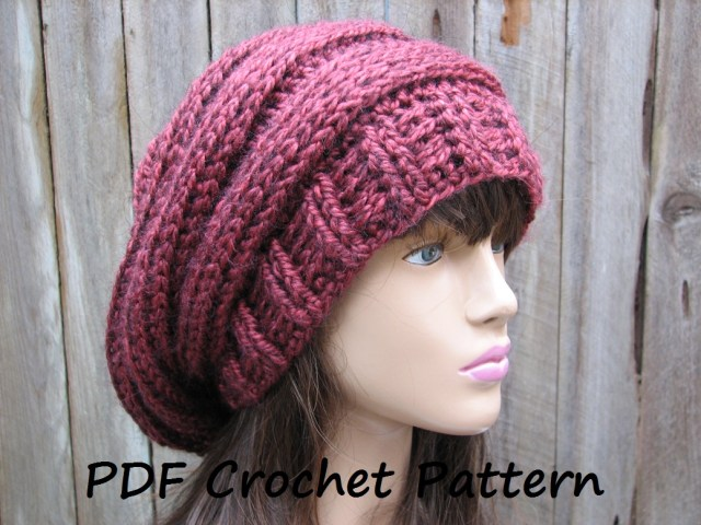 Free Hat Crochet Patterns Crochet Pattern Crochet Hat Slouchy Hat Crochet Pattern Pdf