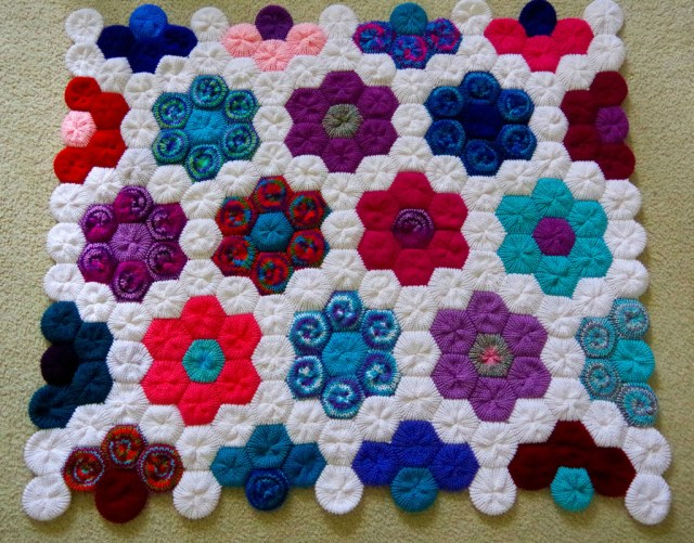 Hexagon Crochet Rug Pattern Hexagon Flower Afghan Or Rug 4 Steps With Pictures