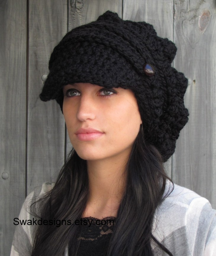 9c46a31bf7d Newsboy Hat Crochet Pattern Swakcouture Black Slouchy Hat Womens Hat Two  Button Band Newsboy